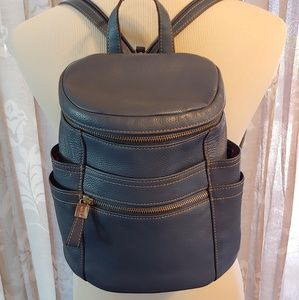 Tignanello Blue Leather Small Backpack